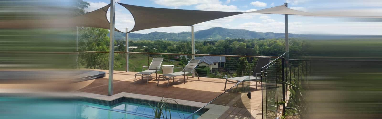 Spa and pool deck shade sail