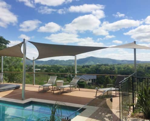 Pool deck shade sails - Architectural Twists