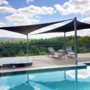 Triangle pool deck shade sails
